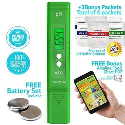 HealthyWiser Digital pH Meter + Free Extra Set of pH buff