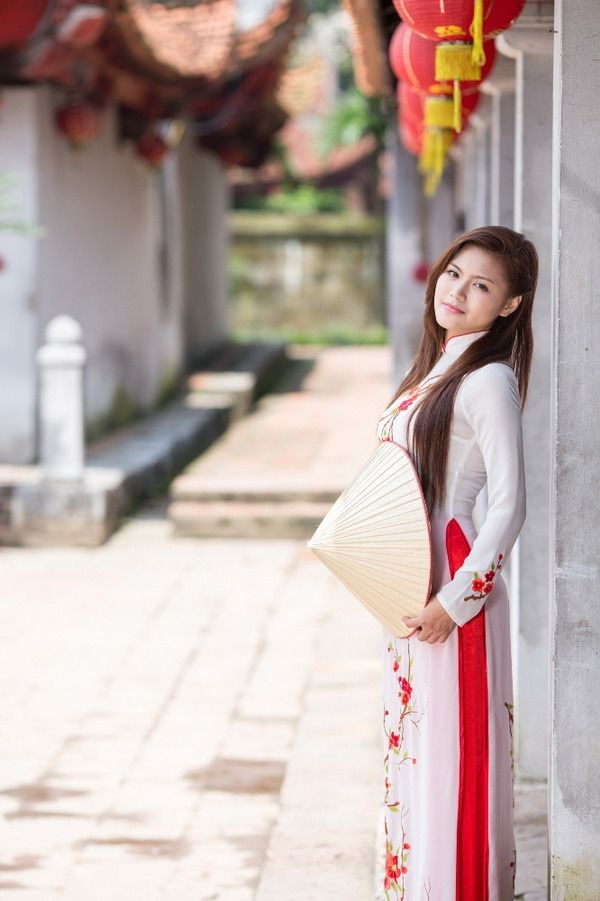 Buy Ao Dai Vietnam Red Silk Dress Black Satin Pant