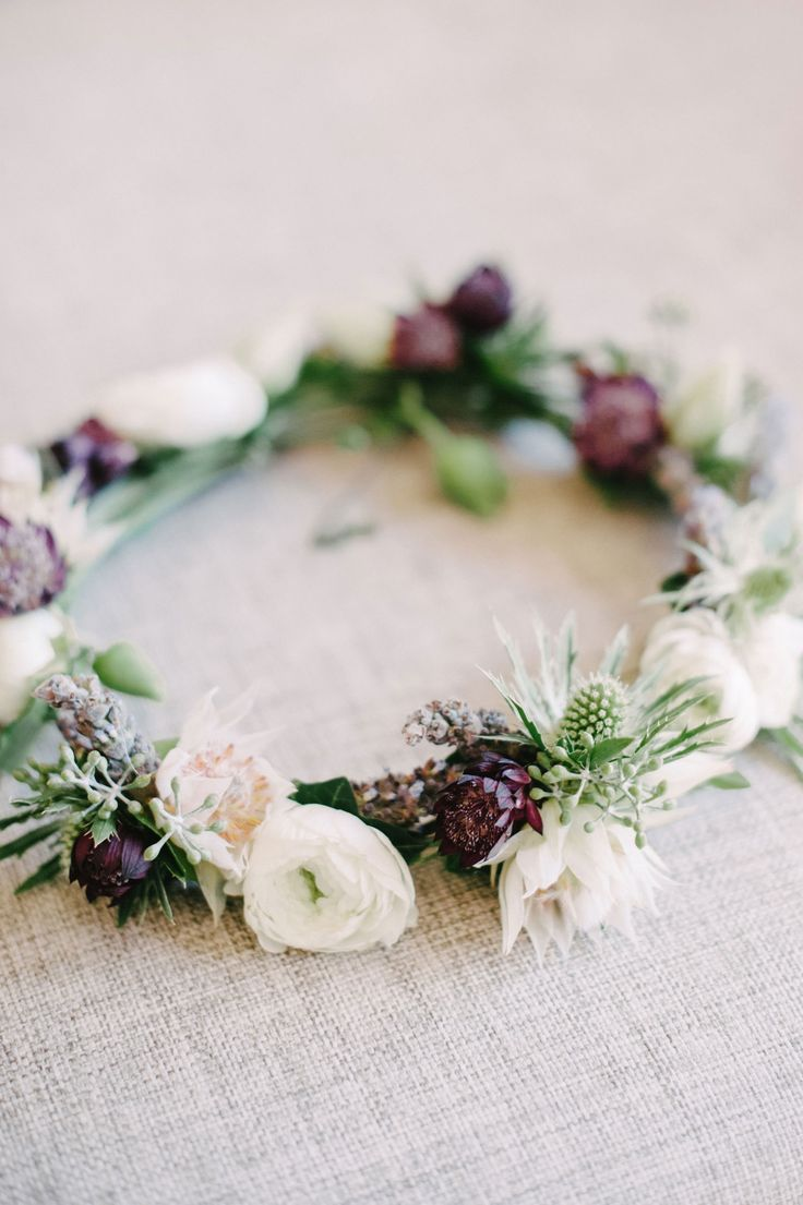 pretty white and purple wedding floral crown