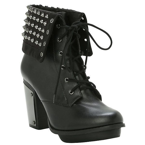 Studded Combat Boot Heel Hot Topic ($15) ❤ liked on Polyvore featuring shoes, boots, ankle booties, black booties, black high heel booties, black military boots, black ankle booties and black platform boots