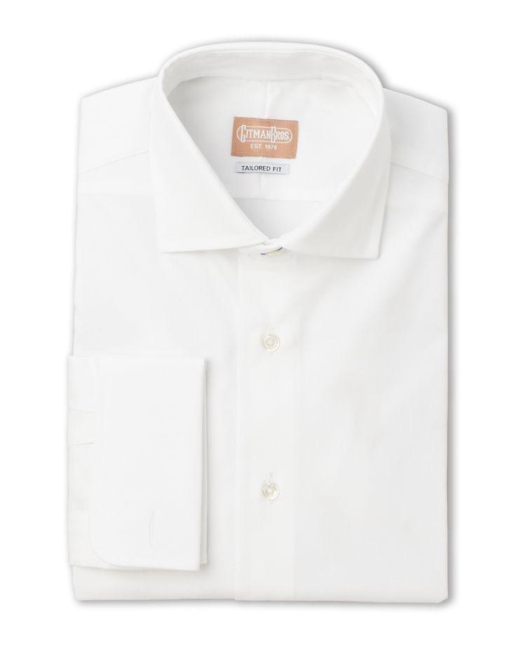 Gitman Bros. White Tailored Fit French Cuff Dress Shirt