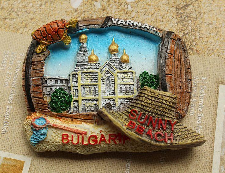 Resin Fridge Magnet, Hand Painted, 6.5 x 5.5 cm, Bulgaria SUNNY BEACH #(Excerpt)