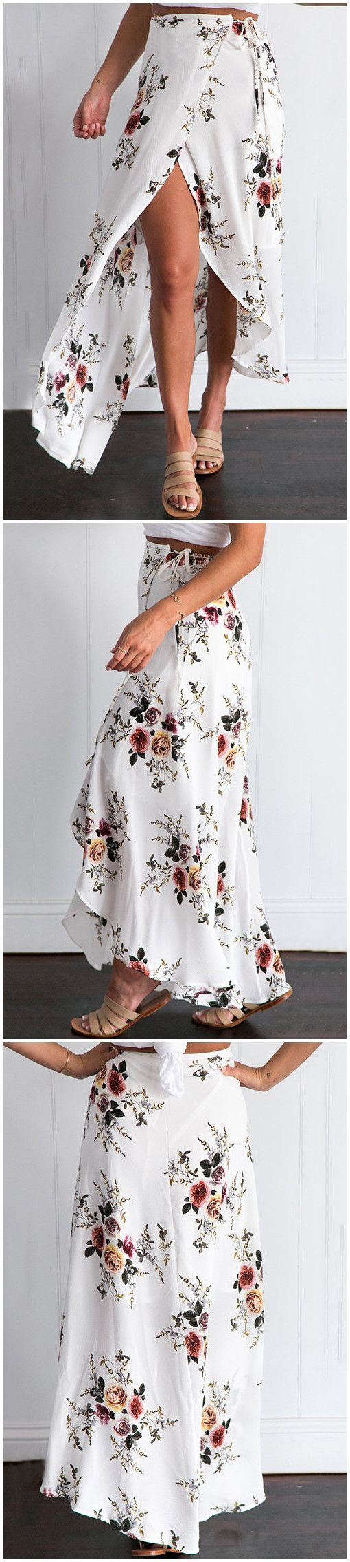 White Random Floral Print Splited Hem Self-tie Maxi Skirt