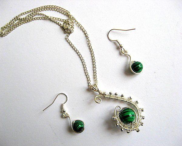 Malachit si sarma argintata set bijuterie colier si cercei, pietre semipretioase - idei cadouri femei - preturi si transport