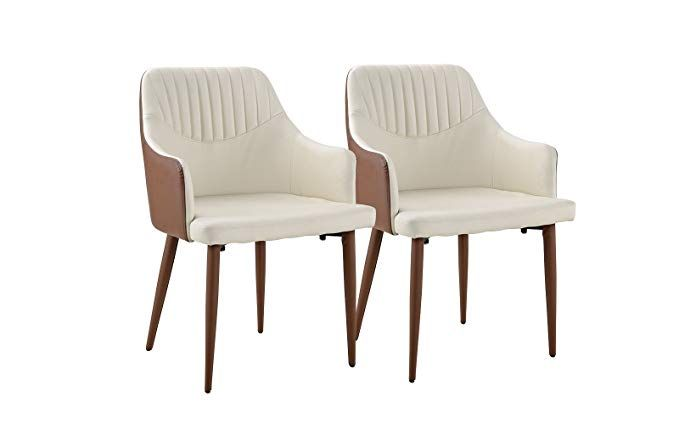 Set Of 2 Dining Chairs Faux Leather Kitchen Chairs With Arm Rests