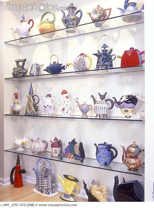 Collection Display Tea Recessed Glass Shelves Used