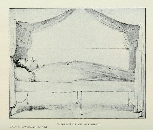 Napoleon on his deathbed, from a contemporary scetch     The Drama of Saint Helena, by Paul Frémeaux, translated from the French by Alfred Rieu, B.A. Cantab and the author.