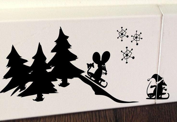 Maus Weihnachtsmann Schlitten Wandaufkleber Wandsticker Wandtattoo Kinderzimmer   eBay