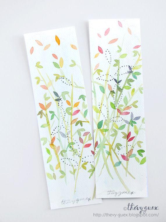 Marque Pages Peinture Aquarelle Originale Vert Pastel Feuille Feuillage/Ensemble de 2 Marque Pages