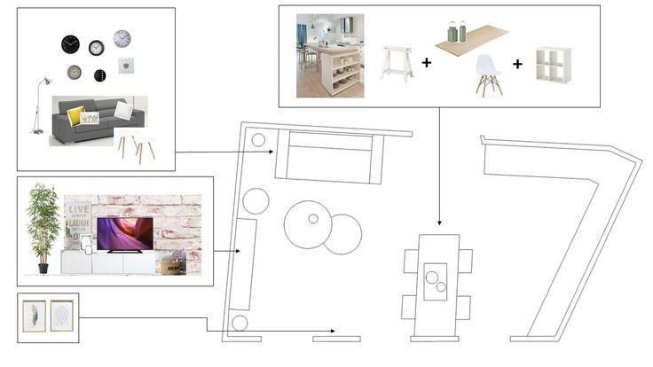 Plano disposición mobiliario salón comedor Proyecto Home Staging