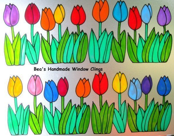 bea s spring tulip border safety mirror window cling decoration decal - Window Clings