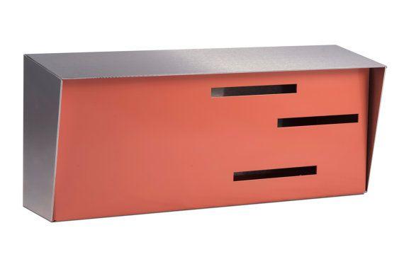 Mediados de siglo modernos buzones | Buzón de correo modernos | Dos tonos de acero inoxidable