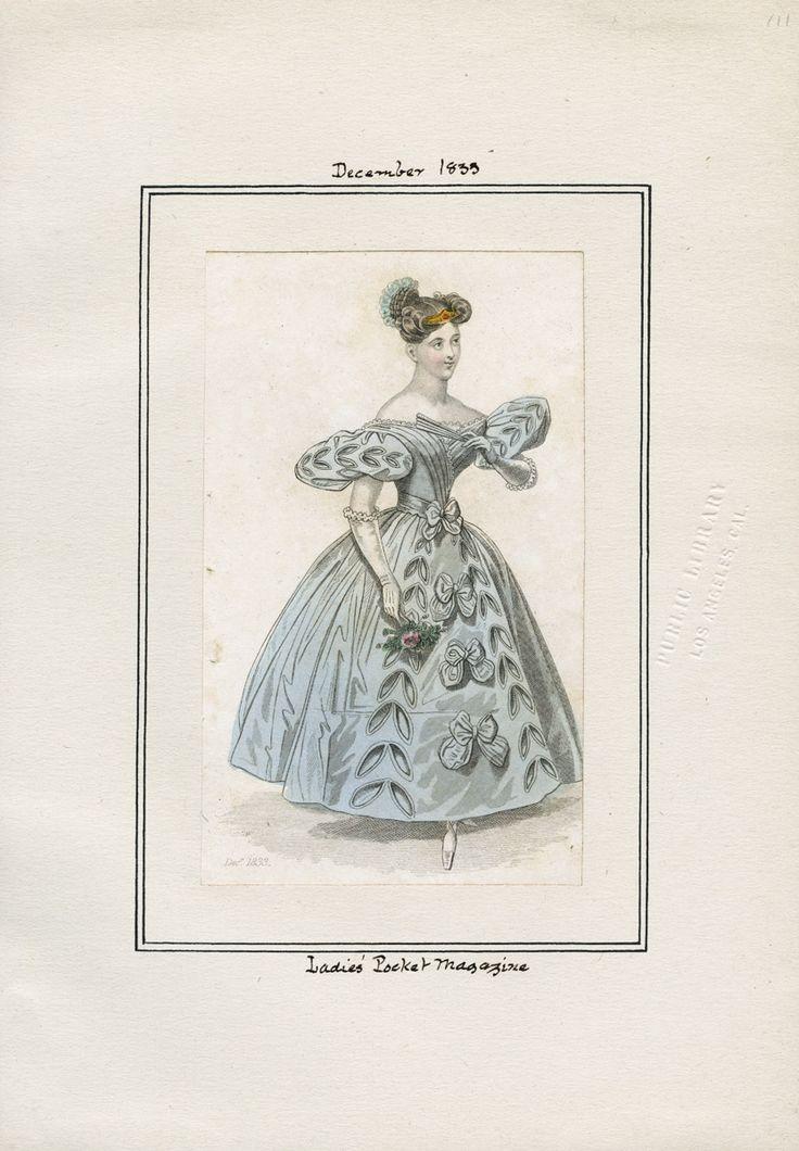 Casey Fashion Plates Detail | Los Angeles Public Library Ladies' Pocket Magazine Date:  Sunday, December 1, 1833 Item ID:  v. 14, plate 111