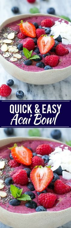This acai bowl recipe is a smoothie made with fruit, acai berry puree and yogurt that's served in a bowl and finished with a fun and colorful variety of toppings.