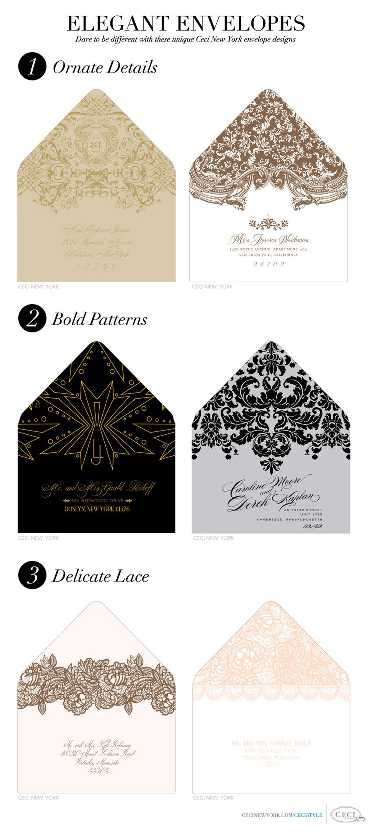 Think out side the invitation with elegant envelopes for Cool envelope ideas