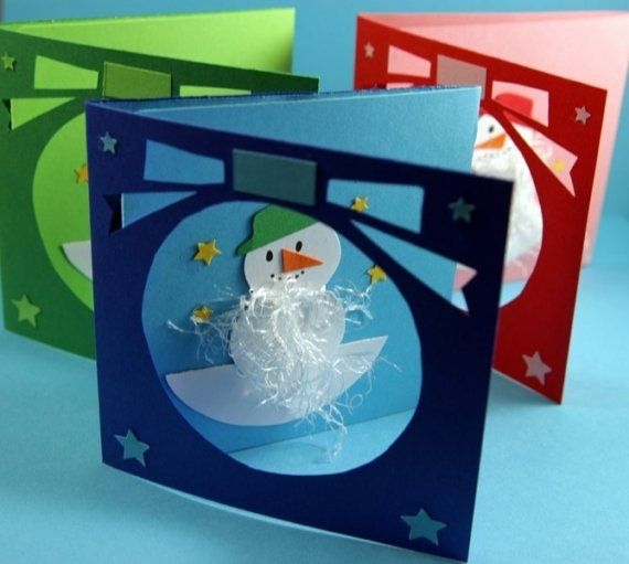 3 Colorful Holiday Snowman Christmas Cards by shesbattydesigns