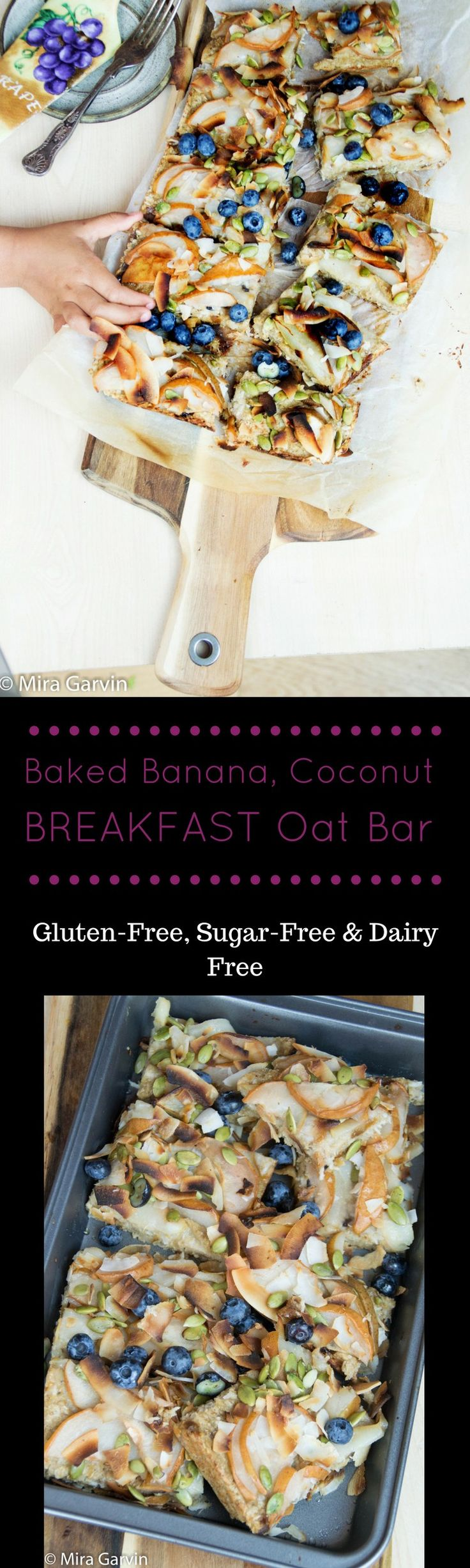 Baked Sugar-Free Banana, Coconut Breakfast Oat Bar