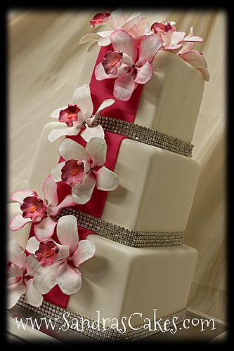 hot pink with orchids by sandrascakes, via Flickr