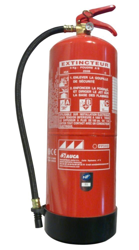 #extincteur à poudre ABC 9 kg. Classement au feu: 43A-233B-C.