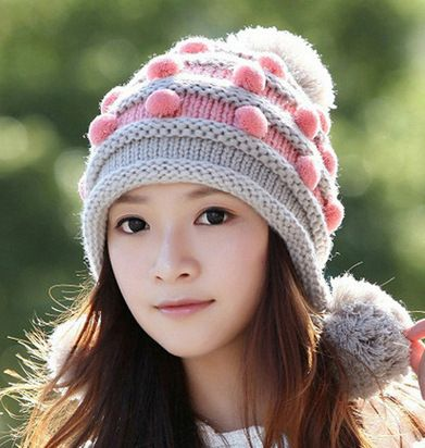 Dulce viento de lana otoño invierno para mujer sombrero de la muchacha versión coreana fluye invierno cálido orejeras de bolas y el invierno sombreros sombreros de punto(China (Mainland))