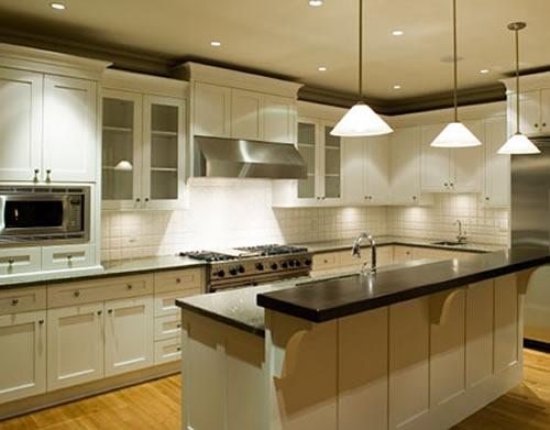 recessed lighting clean kitchen