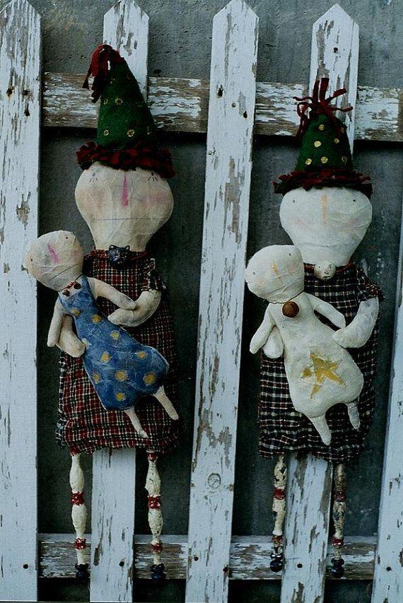 Christmas Snowman Doll Pattern Primitive Snowmen by hicketypickety