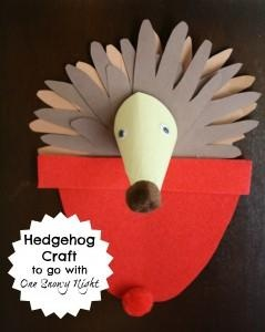 Hand print hedgehog craft to go with the book One Snowy Night