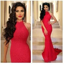 (MY1773) Marry You Lace Sexy Mermaid Prom Dress 2015 Red High-neck Sleeveless Evening Gowns Best Buy follow this link http://shopingayo.space
