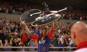 Sir Bradley Wiggins of Great Britain and Team Wiggins celebrates breaking the UCI One Hour Record at Lee Valley Velopark Velodrome.