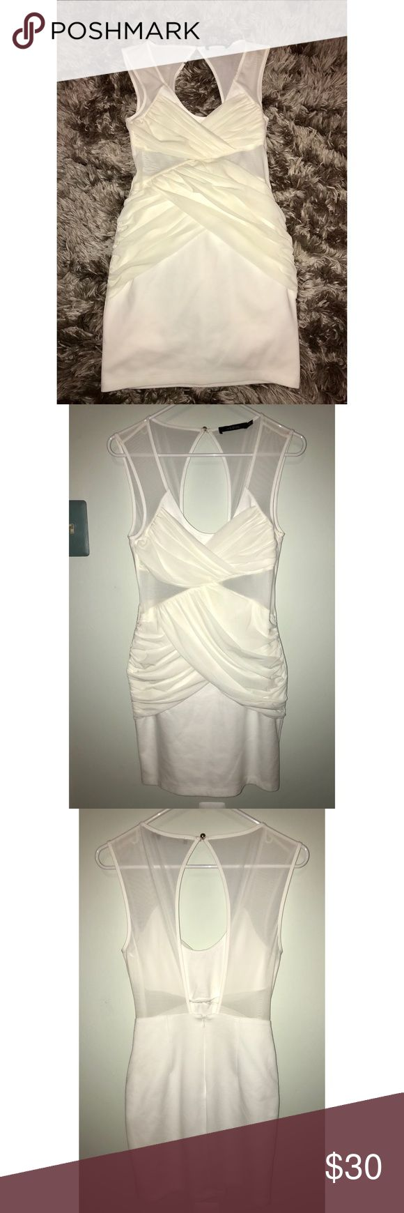 Ark&co White Mesh Dress White mesh- mini dress with open back and zipper. Extremely flattering, with ruched sides that look good on any body shape. Flexible material with mesh cut outs under the bust. Ark & Co Dresses Mini