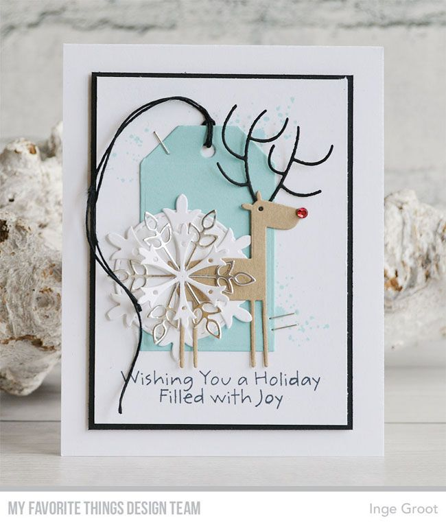 Stamps: Distressed Patterns, Filled with Joy | Die-namics: Deer Love, Layered Snowflakes, Stitched Circle STAX, Tag Builder Blueprints 2 — Inge Groot