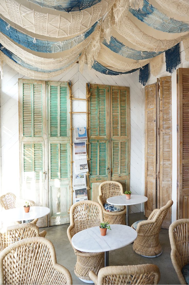 Bohemian, indigo hues and wicker chairs are perfect for brunch at The Butcher's Daughter in Venice Beach