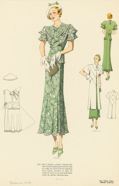 1930s Fashion Plate from NYPL. I want the coat!
