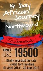 14 Day African Journey Northbound - Zambia, Botswana, Zimbawbe, Malawi, Tanzania - Guided Fly In Safari