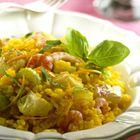 Een heerlijk recept: Kerrie-rijstsalade met kabeljauw en garnalen