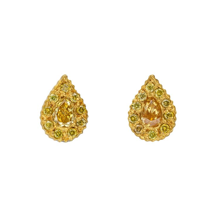 Angara Cognac Diamond Stud Earrings in Yellow Gold - Angaras Coffee Diamond