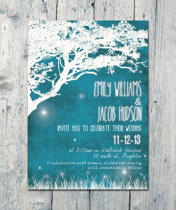 Set of 120 -  Blue Night with Fireflies Wedding Invitation and Reply Card Set - Wedding Stationery - ID328