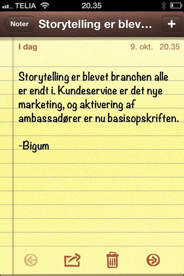 """""""Storytelling er blevet branchen alle er endt i. Kundeservice er.."""" (dagens citat af @thomasbigum)"""