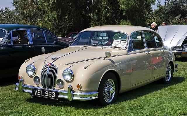 childhood...  1967 Jaguar Mk II Saloon - beige - fvl by Pat Durkin - Orange County, CA, via Flickr