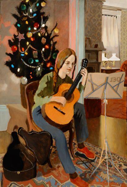 litelowlife:  Fairfield Porter, Lizzie, Guitar and Christmas Tree, 1973