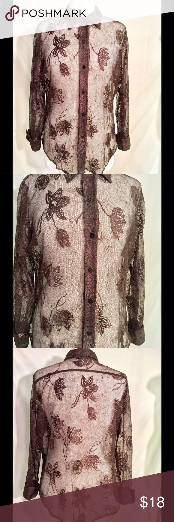 Karen Kane blouse Karen Kane blouse, sheer, button up front, size 14 Karen Kane Tops Blouses