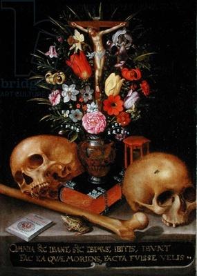 Vanitas Still Life (oil on canvas) by German School, (17th century)