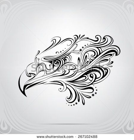 The head of an eagle in the ornament - stock vector