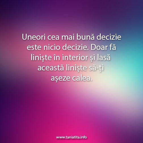 Uneori cea mai buna decizie este nicio decizie. Doar fa liniste in interior si lasa aceasta liniste sa-ti aseze calea... http://taniatita.info/newsletter - Tania Tita