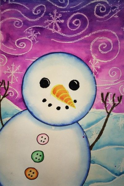 Snowman Painting: crayon resist, outline with marker then paint with water. Excellent idea!