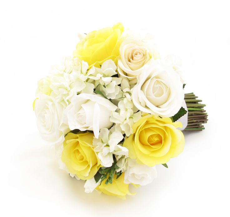 A large size posy of white/ivory/cream Garden Roses with yellow Fresh Touch Roses and stock florets. Find your perfect wedding flowers at http://www.loveflowers.com.au