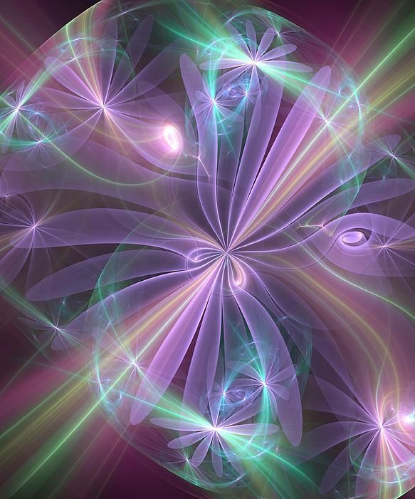 Ethereal Flower In Violet Digital Art by Svetlana Nikolova - Ethereal Flower In Violet Fine Art Prints and Posters for Sale