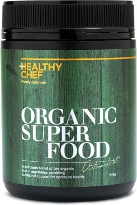HEALTHY CHEF ORGANIC SUPERFOOD is the ultimate wholefood vitamin formula. A delicious blend of cold pressed organic fruit and vegetables designed to give you 30% of your recommended daily requirements in every serve. Perfect for the whole family. High in antioxidants to support healthy skin and better sports performance. High in pre-biotics to nourish healthy digestion and overall wellbeing. Enjoy with water, coconut water or add a boost to power smoothies. Perfect pre and post recovery…