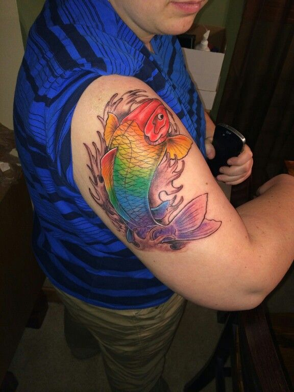 Rainbow fish book tattoo for Rainbow koi fish