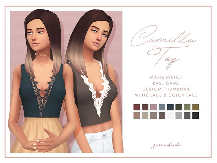 sims 4 mm cc maxis match tank top with lace v neck